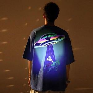 High Quality Alien Abduction Reflective Print Man Women Oversized Shirt Streetwear Cotton Casual T Shirt Harajuku Men Clothing