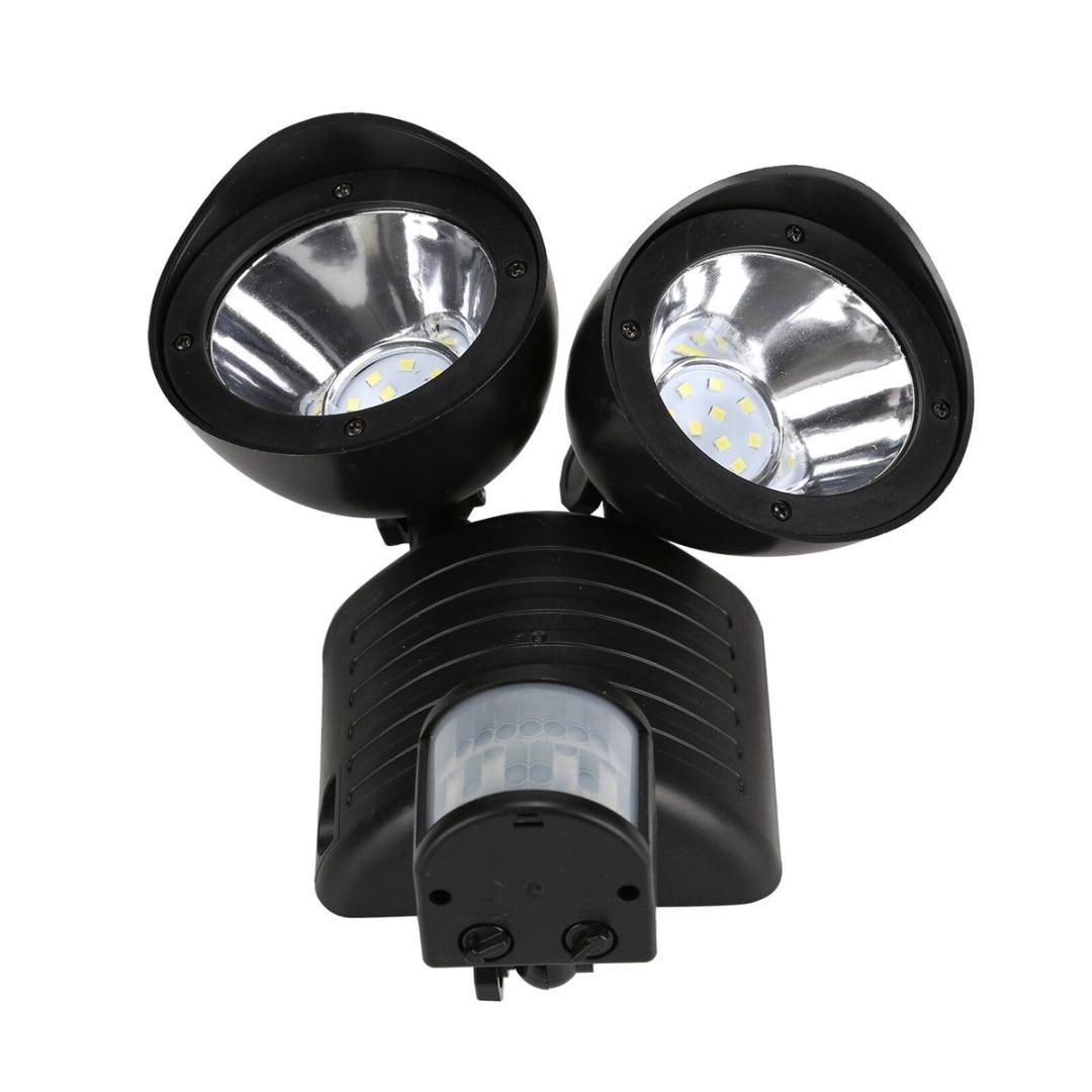 Solar Garden Light 22LED Dual Head Flood Security Outdoor Light PIR Motion Sensor Path Wall Lamps Powered Emergency Floodlight