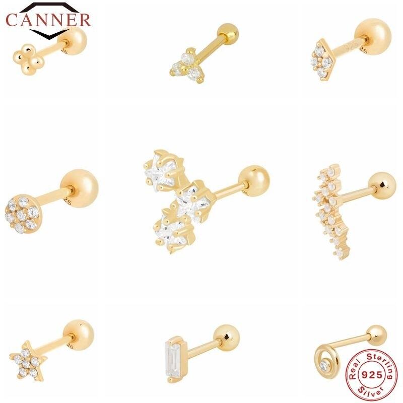 CANNER 1 paire réel 925 boucles doreilles en argent Sterling pour les femmes Piercing Cartilage boucle doreille minimaliste petit mignon boucles doreilles bijoux