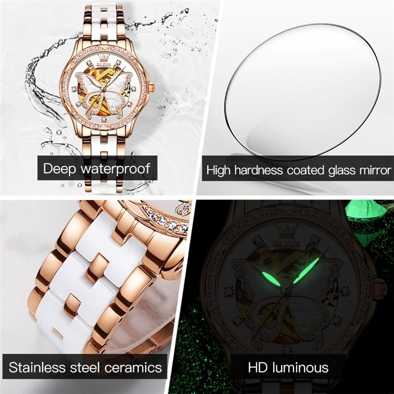 OLEVS Ceramic Steel Women's Automatic Mechanical Watch Luxury Brand Butterfly Hollow Watches for Women Fashion Waterproof Watch enlarge