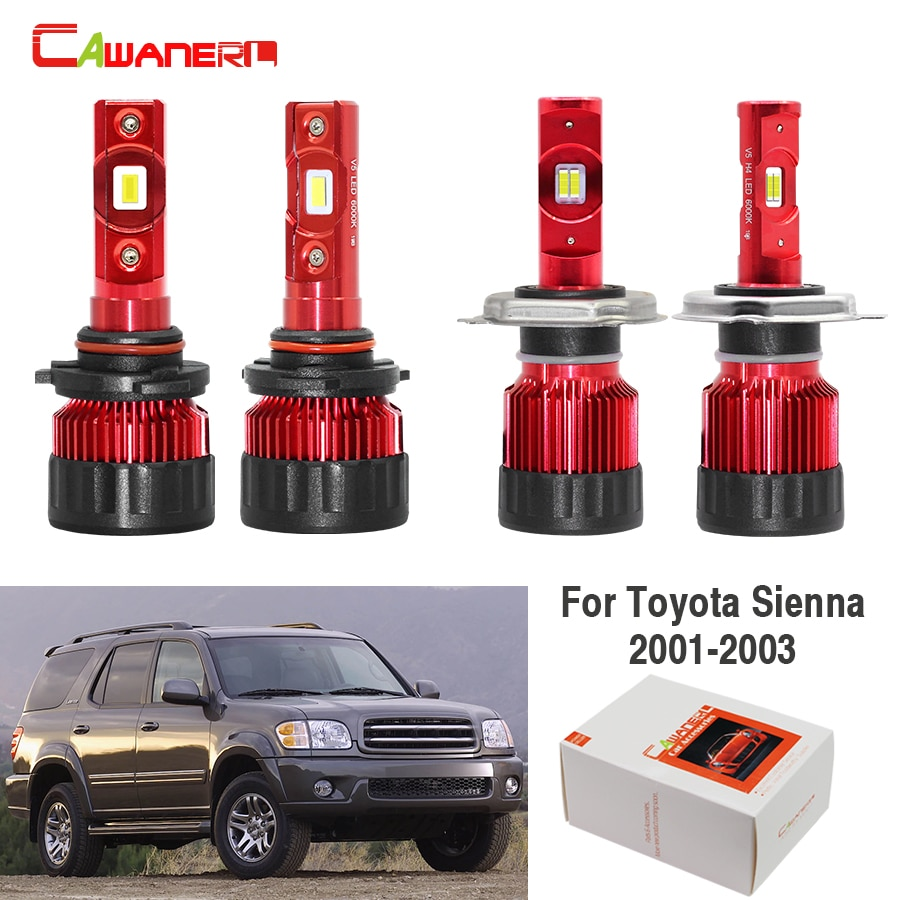 Cawanerl 4 piezas 60W bombilla led coche para faros de luz antiniebla H4 9006 60W 9000LM 12V para Toyota Sienna 2001 2002 2003