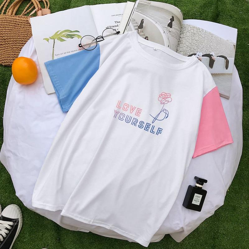 Bangtan Boys ropa de verano de manga corta mujeres hechizo Color empalme camiseta Casual Kpop coreano algodón LOVE YOURSELF Floral Tops