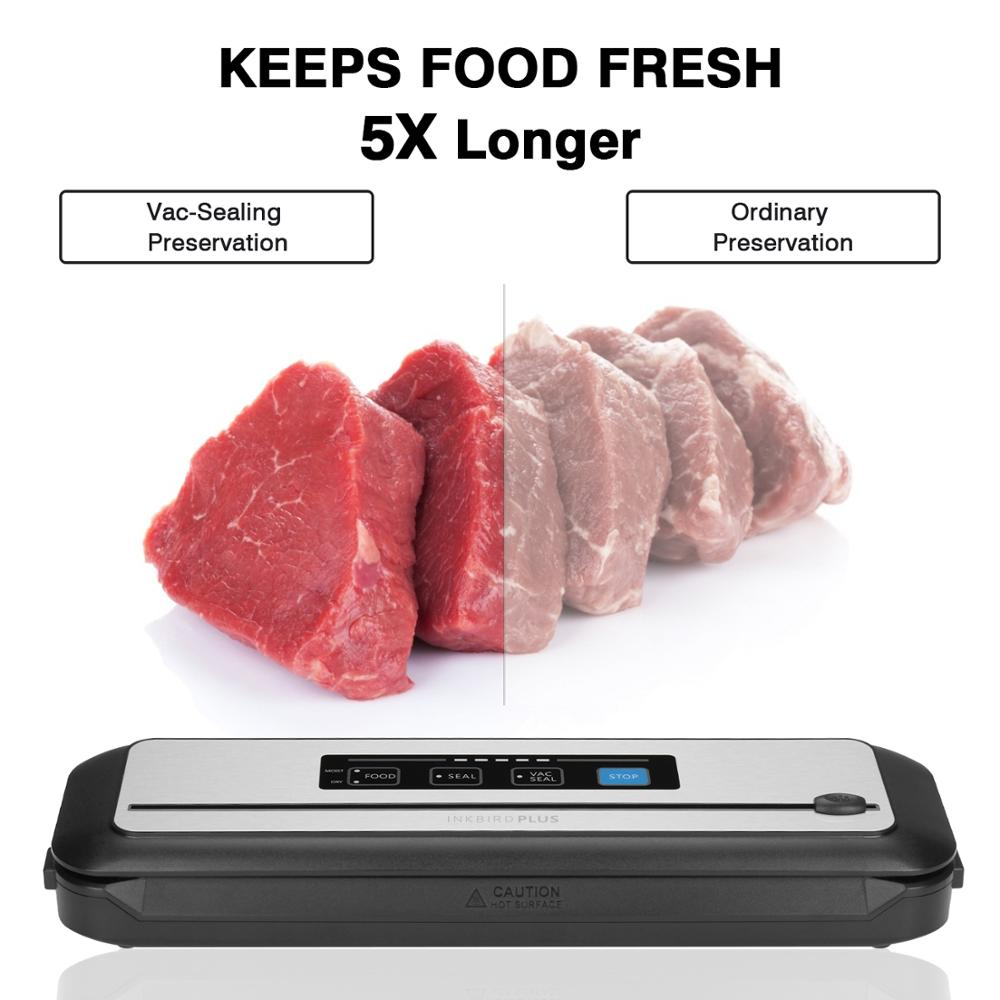 Inkbird فراغ السداده الغذاء INK-VS01 التلقائي ختم آلة لحفظ الأغذية مع الجافة و رطبة وسائط المدمج في القاطع
