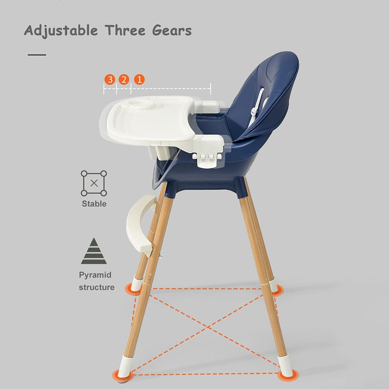 Babyinner Adjustable Baby Dining Chair Multi-function Booster Seat Feeding Lunch Chair Double Dinner Plate Baby High Chair enlarge