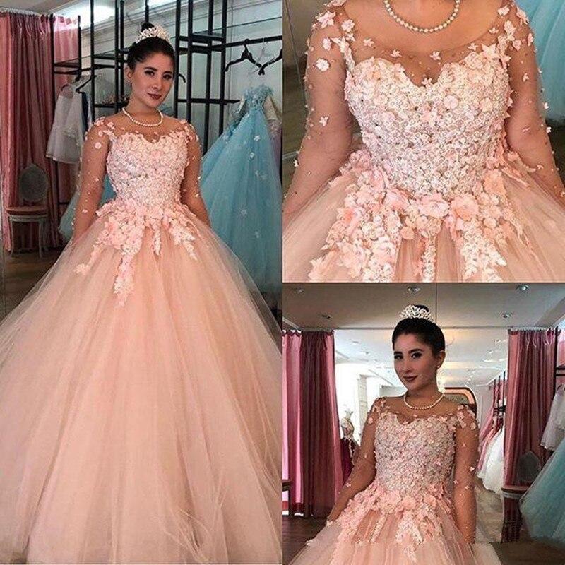 Vestido de encaje en 3D para quinceañera, vestidos de 2020 de color rosa puro, mangas largas, de talla grande, 16, vestidos bonitos, vestido de graduación de 15 años