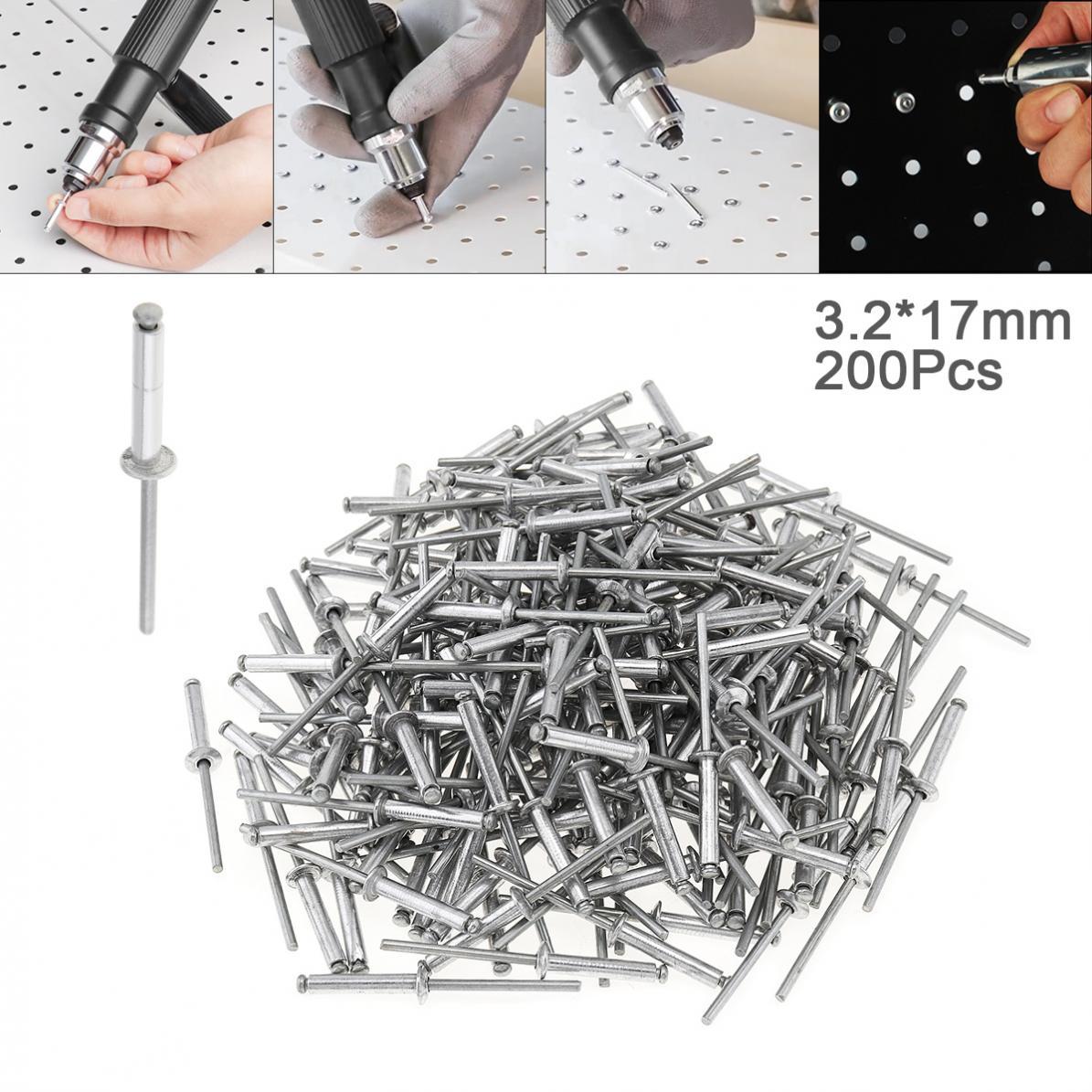 200 pièces vis tirant Rivets M3.2x17mm Aluminium Rivet pistolet noyau tirant rivetage rupture mandrin clou pour meubles voiture avion