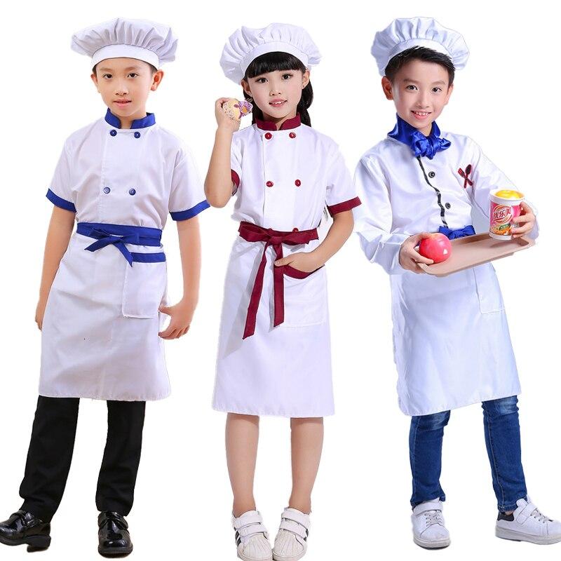 Niños Chef sombrero cocina uniforme Halloween niños restaurante camarero ropa de lujo Conjuntos Bebé fiesta Cosplay disfraces