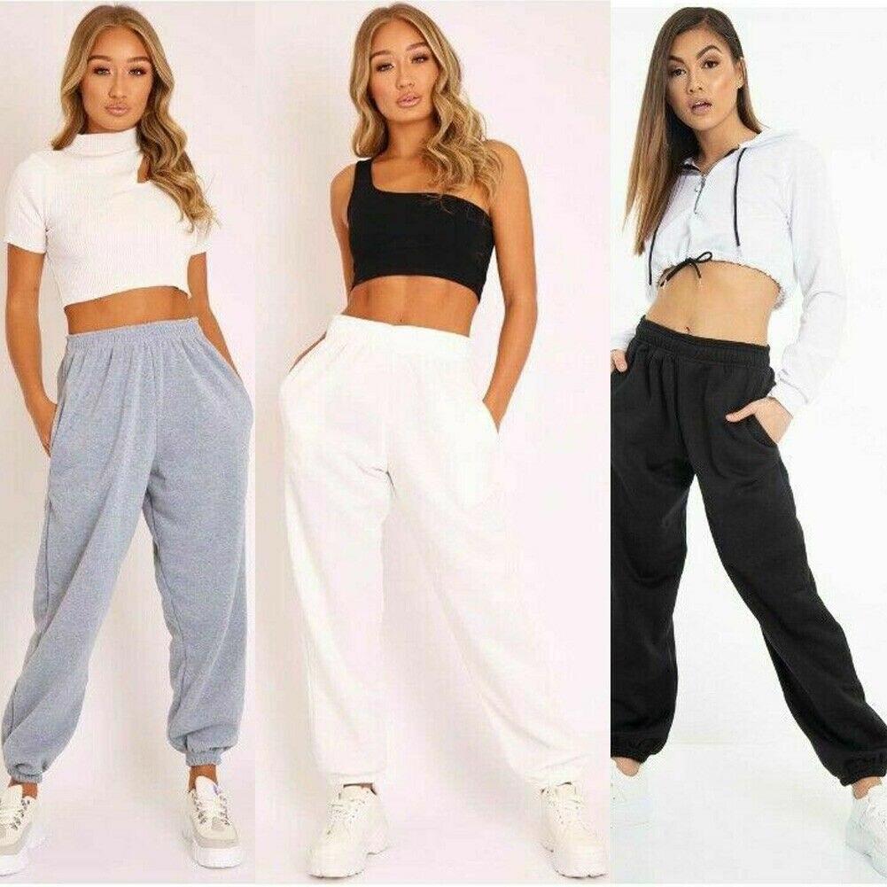 Pantalones de deporte sueltos de calle alta para mujer pantalones de chándal de cintura alta para correr