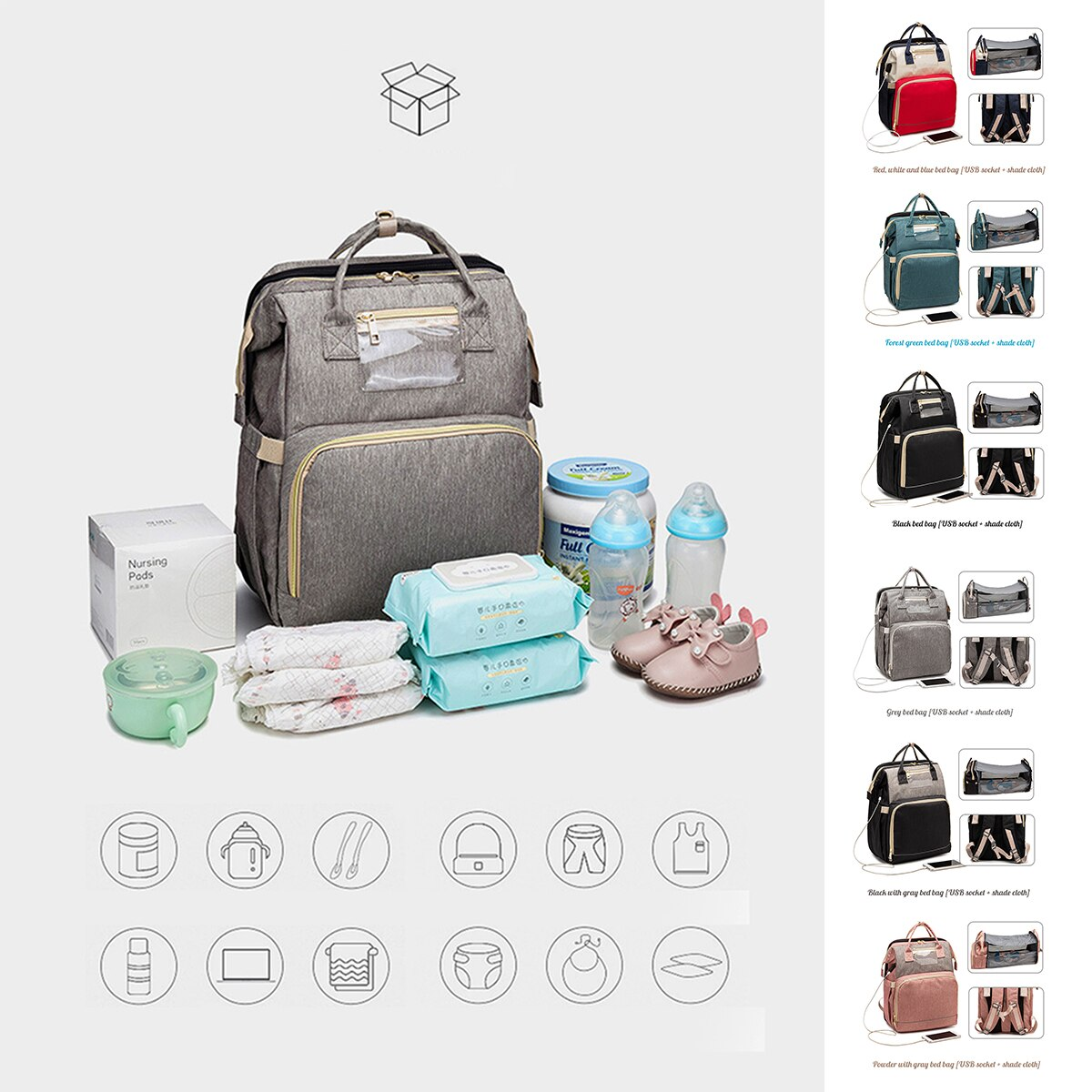 Diaper Bag Baby Mummy Maternity Bag for Stroller Diaper Bag back Waterproof Nappy Backpack Nursing Bags With Hooks
