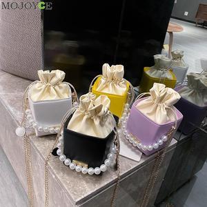 Women Pearl Chain Drawstring Shoulder Handbags PU Leather Square Crossbody Bags Fashion Exquisite Shopping Bag