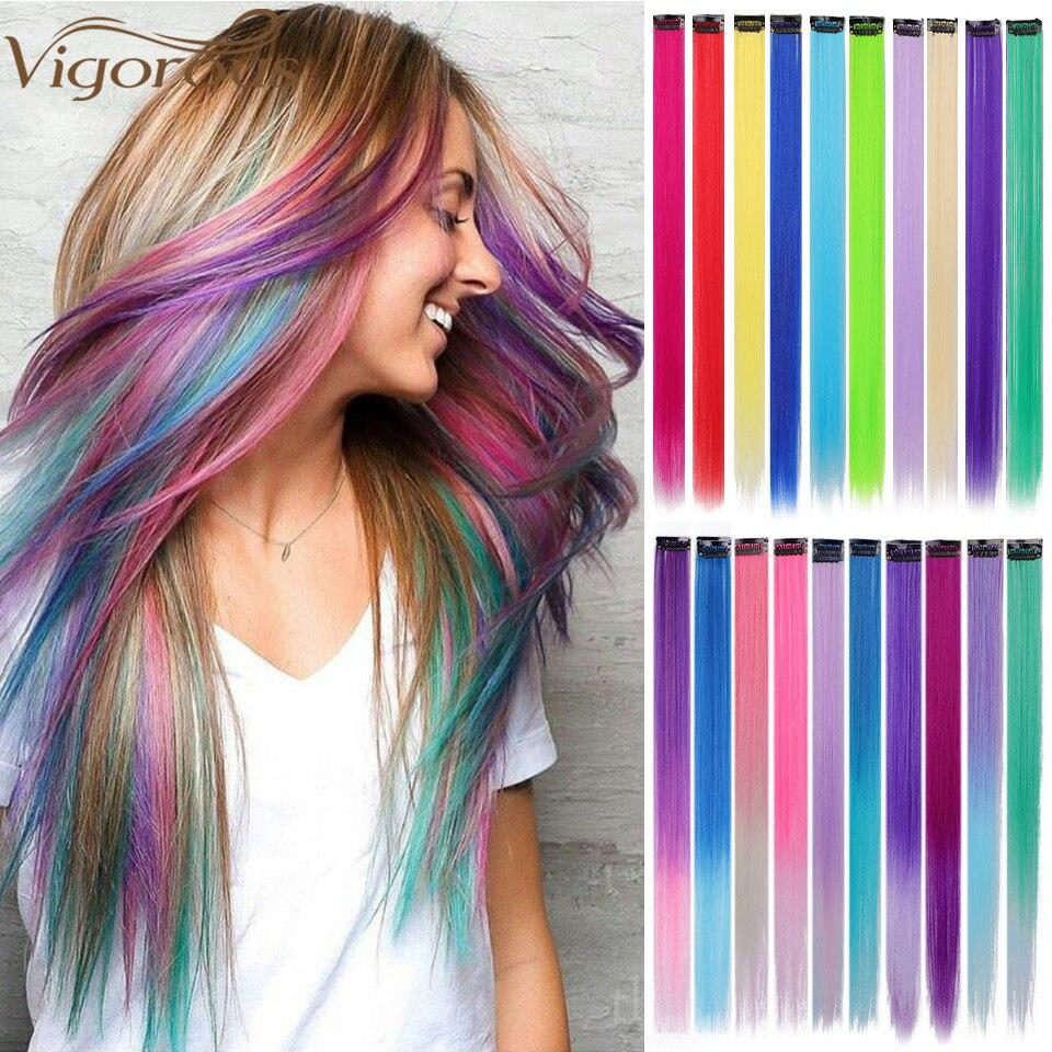 Яркие длинные прямые накладные волосы на клипсе, 20 дюймов, синтетические двухцветные искусственные волосы для женщин и девочек