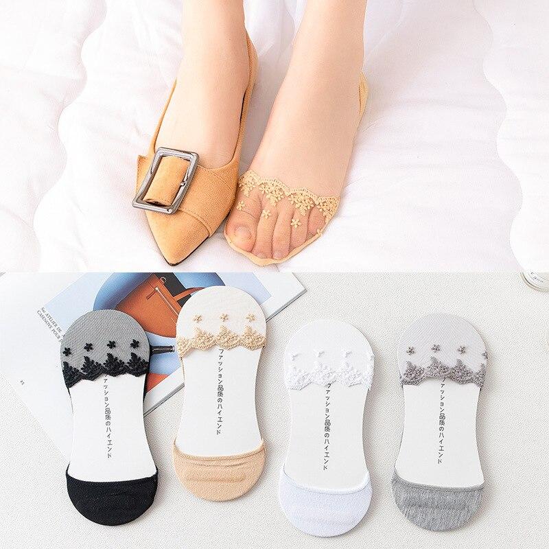 1 par de calcetines de encaje de silicona para mujer y chica para verano, suelas invisibles de algodón, antideslizantes, Calcetines antideslizantes
