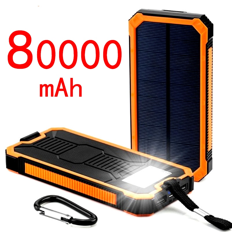 80000mAh Solar Power Bank Large Capacity Fast Charging Dual USB Outdoor Emergency Mobile Phone Charger with Camping Light