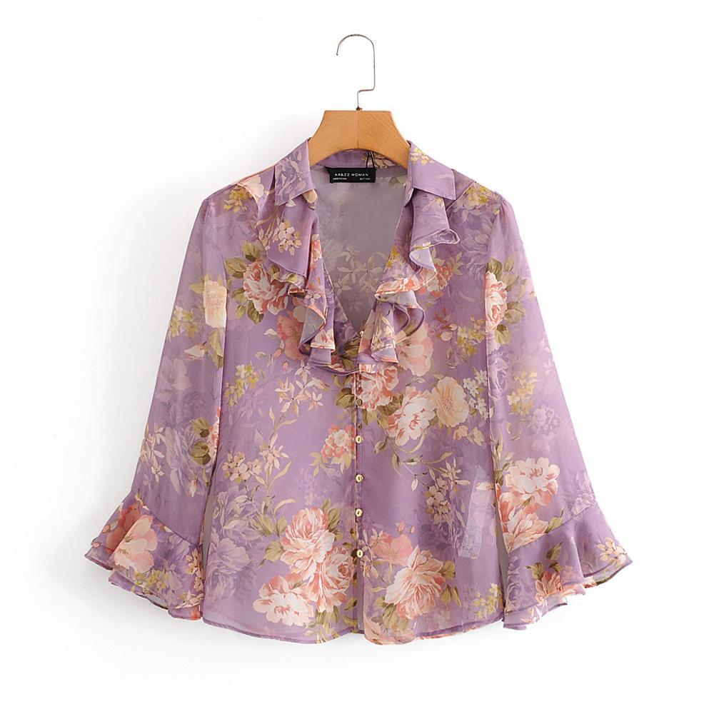 random floral print blouses with choker Floral Print Top Long Sleeve Blouse Shirt Chiffon Ruffel Blouses Women Female Blouses Vintage Button Blouse 2020 Fashion Blouses