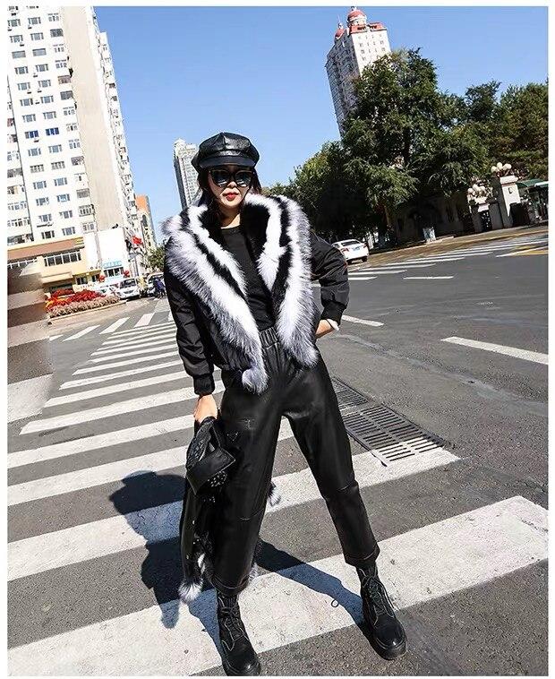Aorice النساء سترة جلد طبيعي الشتاء العلامة التجارية الجديدة الإناث معطف جلد الغنم مع ريال فوكس الفراء طوق H200202