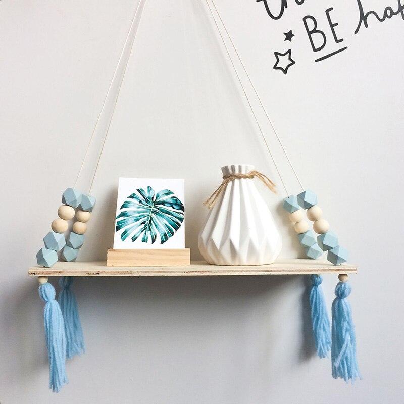 Estantes de madera con cuentas octogonales Macaron de estilo nórdico con borlas, tablilla de pared, decoración para habitación de niños, soporte de exhibición para tienda de ropa