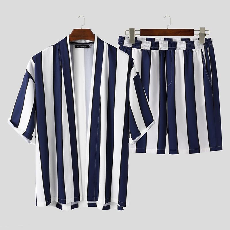 INCERUN-طقم شورت رجالي مخطط ، ملابس صيفية غير رسمية ، قميص فضفاض بأكمام قصيرة ، ملابس بحر قابلة للتنفس