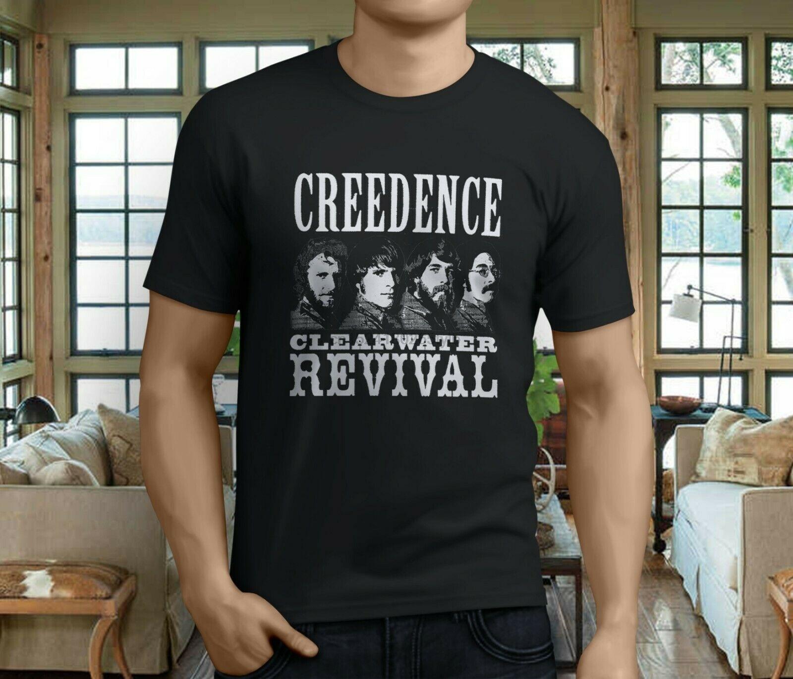 Novo popular creedence clearwater revival 70s rock band masculino preto camiseta S-3XL