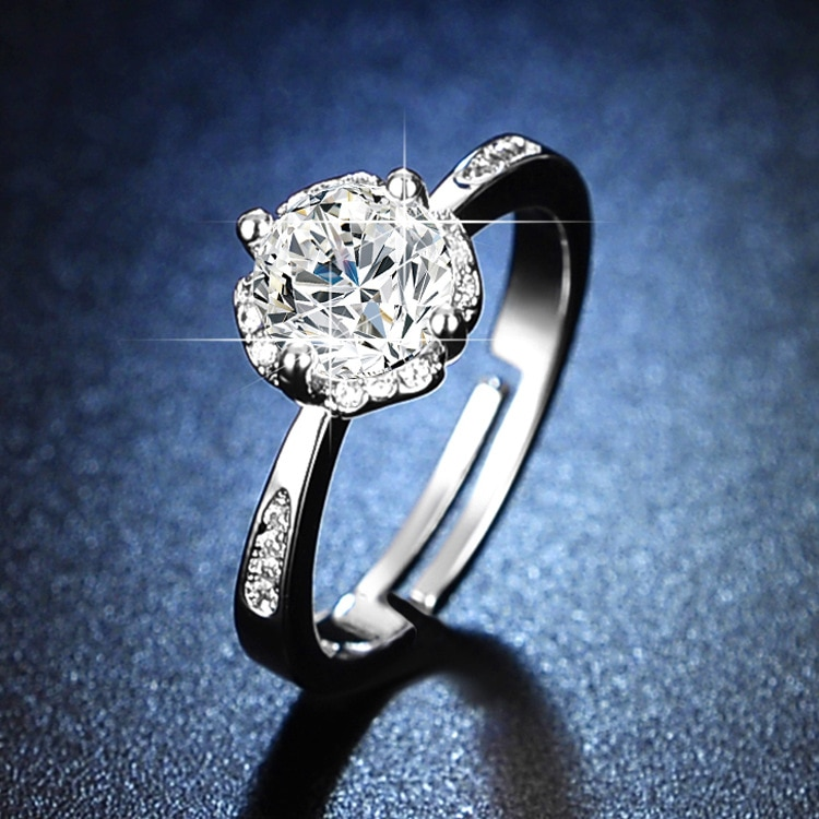 925 Sterling Silver Engagement Rings for Women Resizable Rings Sterling Silver 925 Silver Jewelry