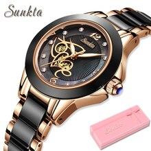 SUNKTA diamant Surface bracelet en céramique mode étanche femmes montres haut de gamme montre à Quartz de luxe femmes cadeau Relogio Feminino