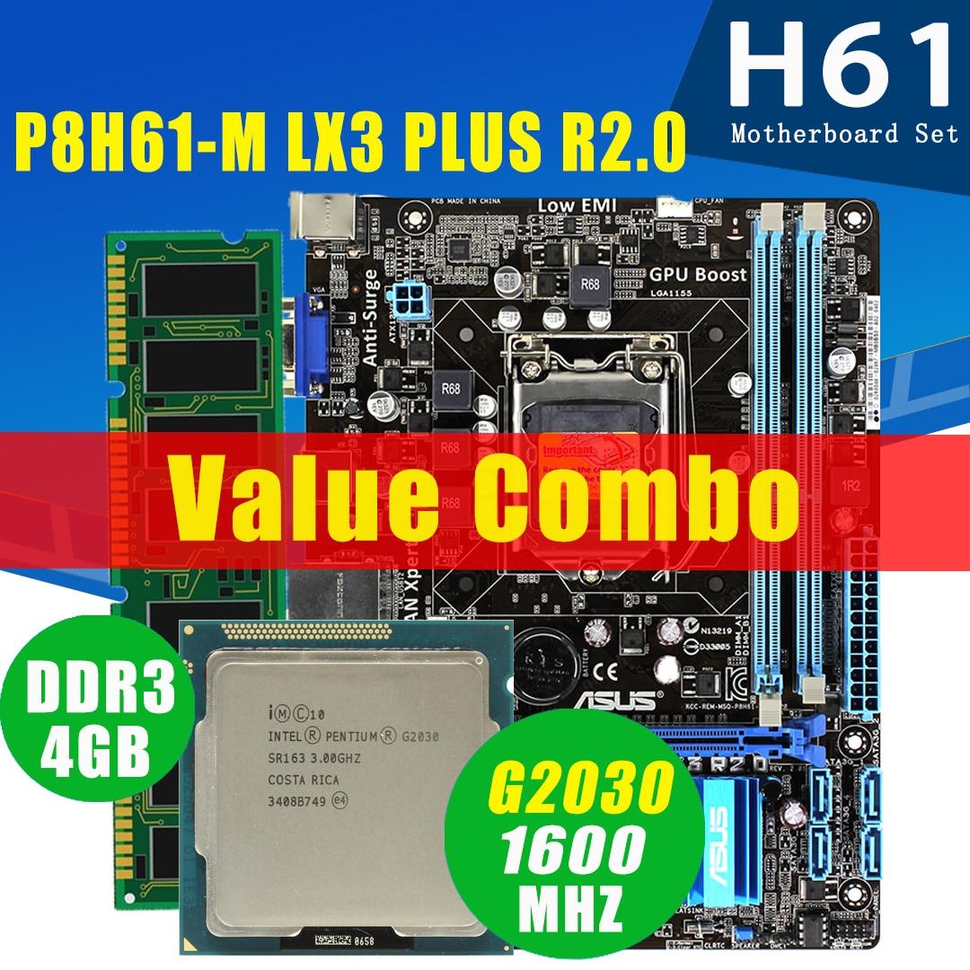 LGA 1155 Asus P8H61-M LX3 زائد R2.0 اللوحة مع إنتل بنتيوم G2030 4 جيجابايت DDR3 اللوحة مجموعة 3 جيجا هرتز H61 اللوحة الأم مجموعة المستخدمة