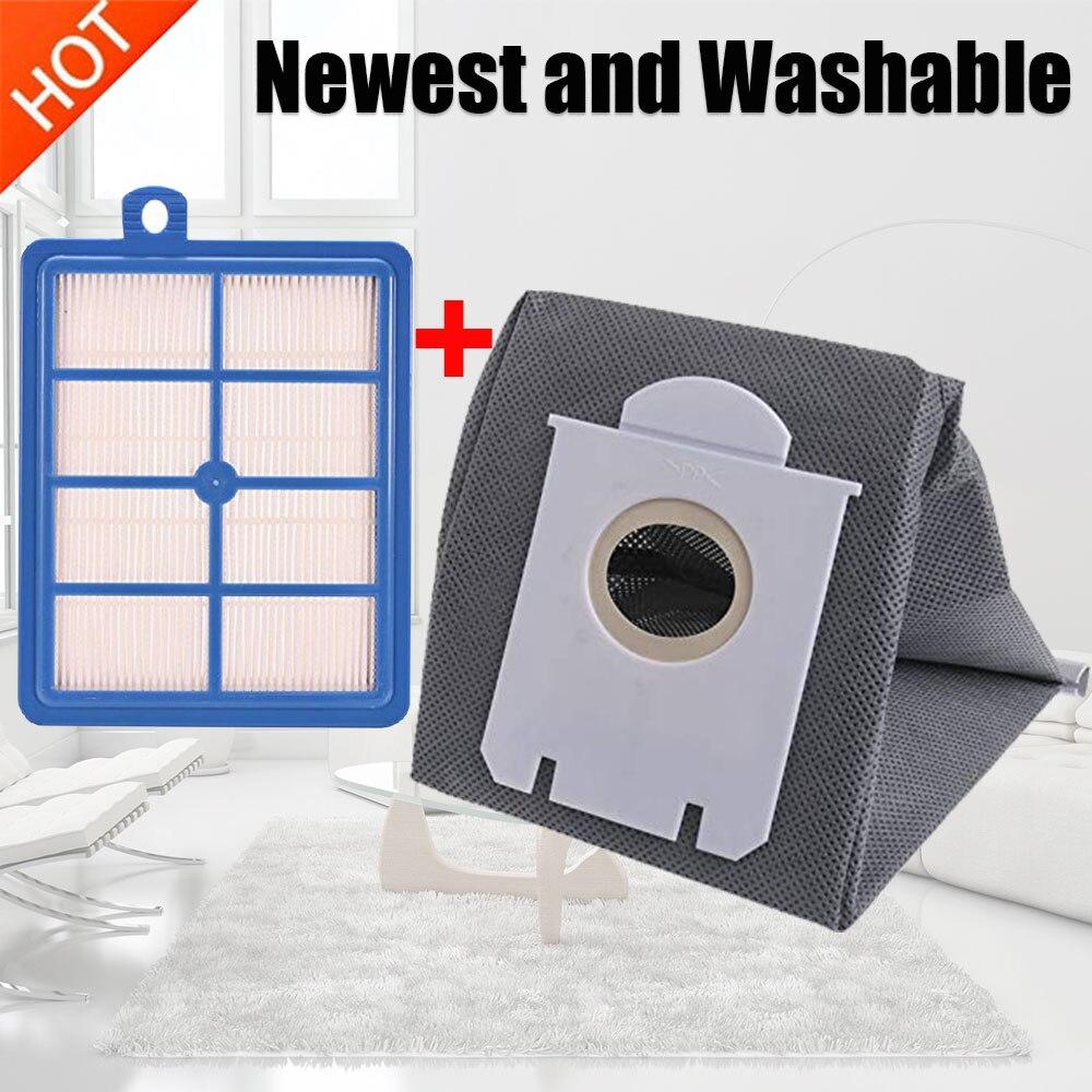Lavable 1pcs H12 H13 polvo filtro hepa + 1pcs de alta calidad bolsas de aspiradora de polvo bolsa de Philips Electrolux