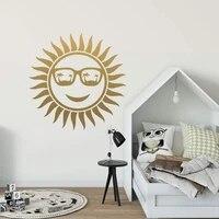 Autocollant mural dessin anime le soleil  en Pvc  Art mural moderne  a la mode  pour salon  chambre a coucher  decor de maison