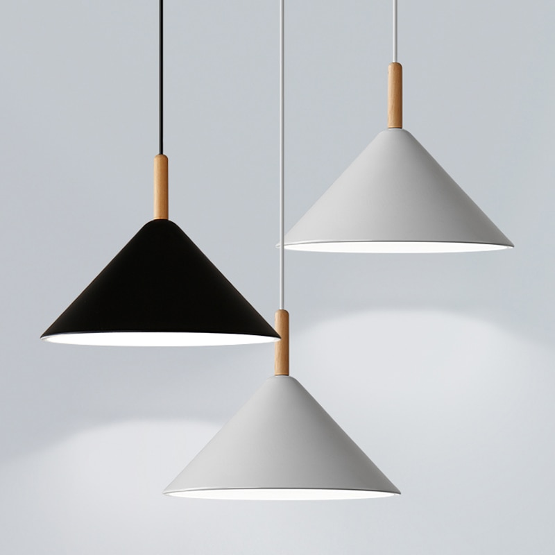 Modern hanging ceiling lamps wood aluminum E27 pendant lights, Home decor lighting and Bar Showcase spot light