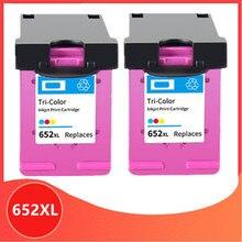 2PC Couleur Compatible 652XL 652 cartouche dencre pour HP 652 XL pour HP652 Deskjet 1115 1118 2135 2136 2138 3635 3636 3835 4535
