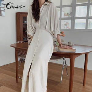 Celmia Fashion Maxi Dress 2021 Women's Lapel High Waist Pleated Party Vestidos Robe Casual Solid Buttons Elegant Office Vestidos