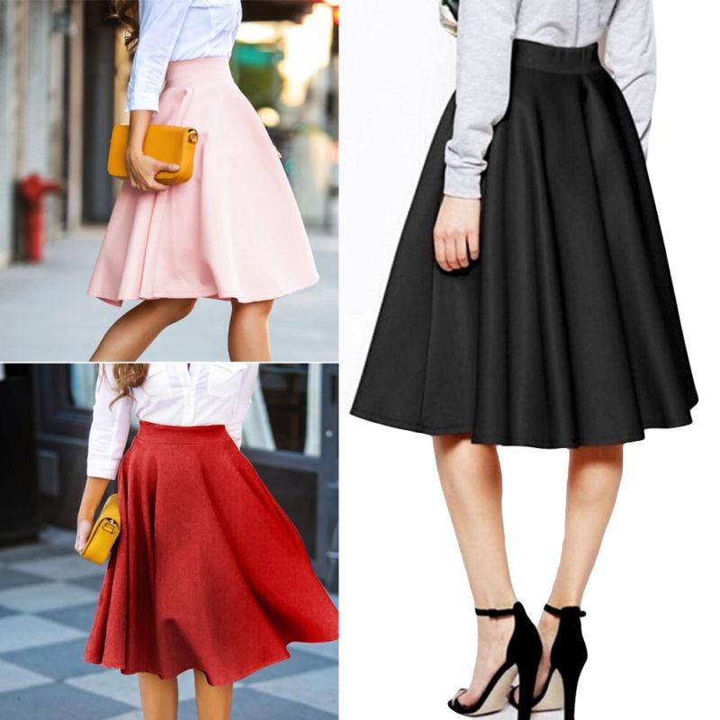Women Gray Retro High Waist Pleated Belted Maxi Skirt S-XXL Blue Wine Red Black    Autumn Winter