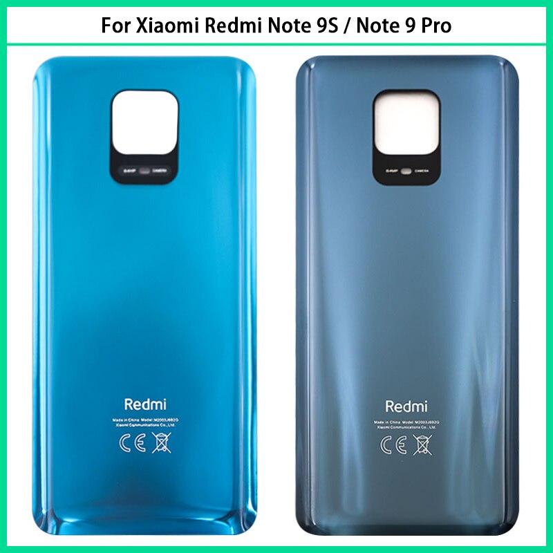 10 قطعة ل شاومي Redmi نوت 9S غطاء البطارية الباب الخلفي الإسكان لوحة زجاجية ل شاومي Redmi نوت 9 برو الغطاء الخلفي استبدال