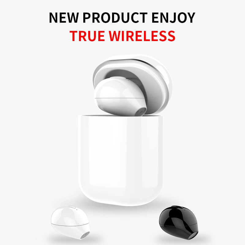 Tws ultra mini fone de ouvido bluetooth invisble pequeno único fone de ouvido botão controle sem fio com caso carga