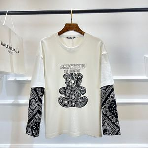 2021 Spring And Autumn Cashew Flower Sleeve Tide Top Fake Two-piece T-shirt Male Pure Cotton Student Korean T-shirt