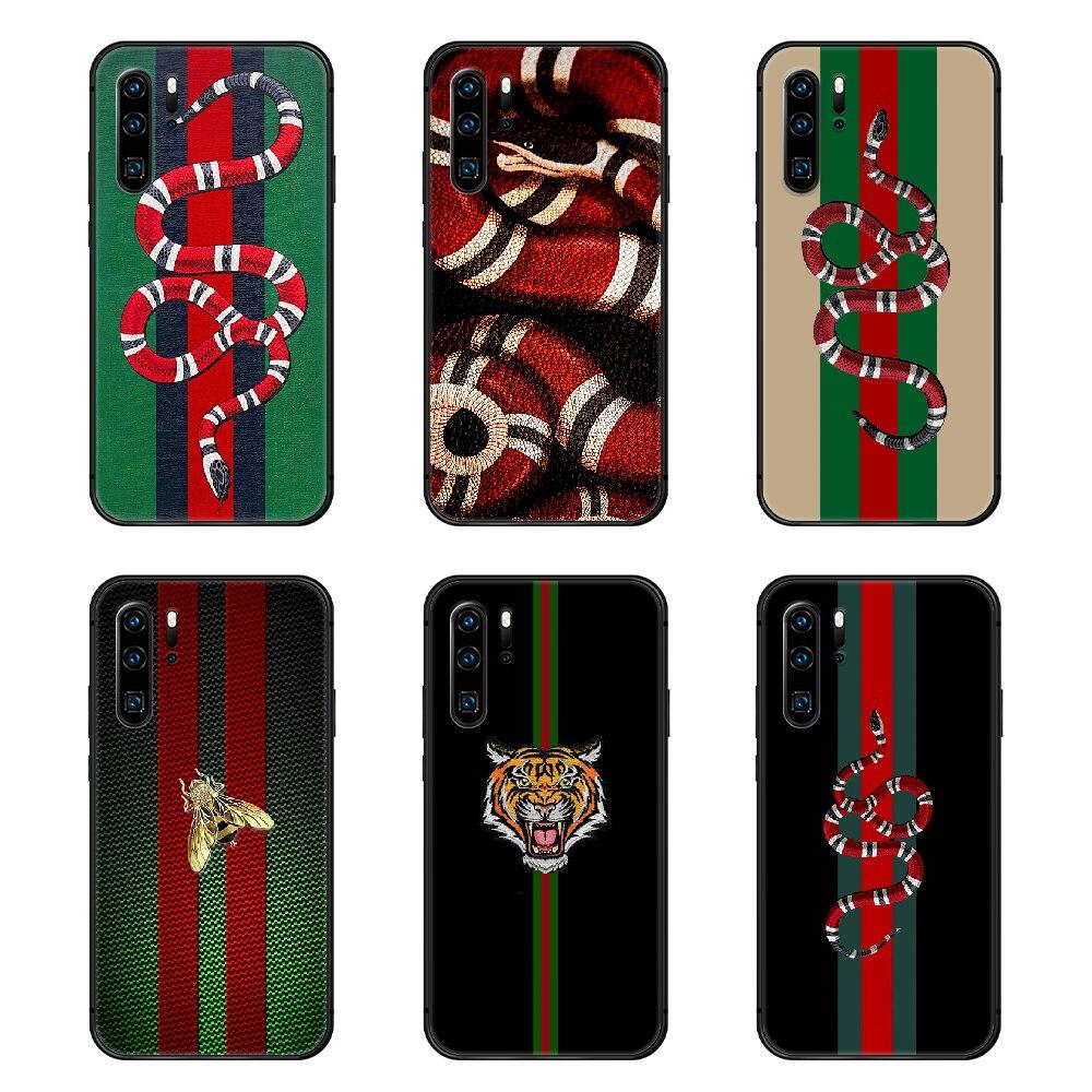 Marcas de lujo italianas de la cubierta de la caja del teléfono de la manera de la serpiente casco para Huawei P8 P9 P10 P20 P30 P40 Lite Pro Plus smart Z 2019 negro