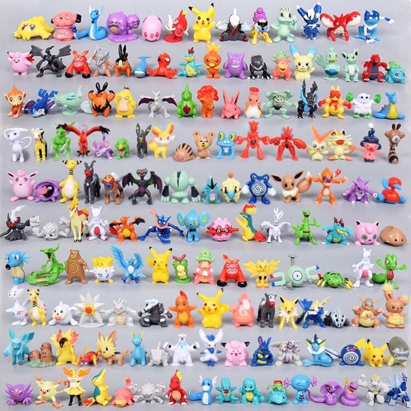 Экшн-фигурка покемона Takara Tomy, игрушки, мини-фигурки, модель, игрушка, Пикачу, аниме, Детская кукла, подарки на день рождения, 2-4 см, 144 шт.