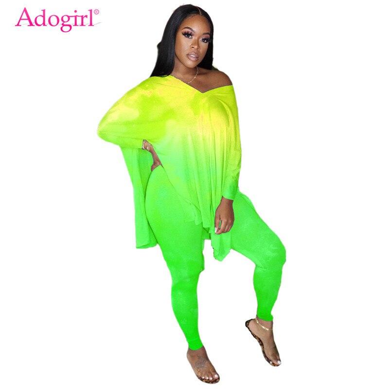 Adogirl S-4XL que cambia de Color dos piezas Set lado Split cuello pico de hombro de manga larga suelta larga Top Leggings Top mujer ropa