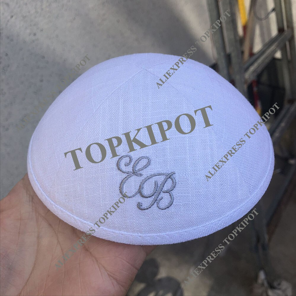 Kippot de lino blanco, personalizado, Kipot, Kippah con bordado gris plateado para boda