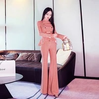 2021 autumn new womens houndstooth court style suit double row button slim shirt bell bottoms two piece set