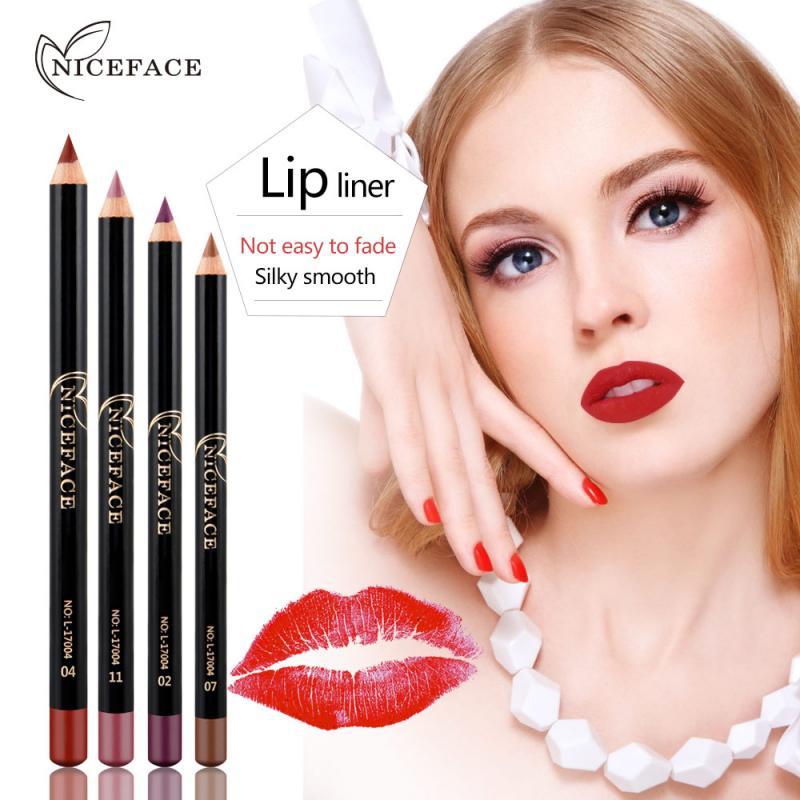 Hot!12 Colors Matte Lipliner Pencils Waterproof Smooth Colorful Silk Nude Lipstick Pen Long Lasting Pigments Lip Makeup TSLM1