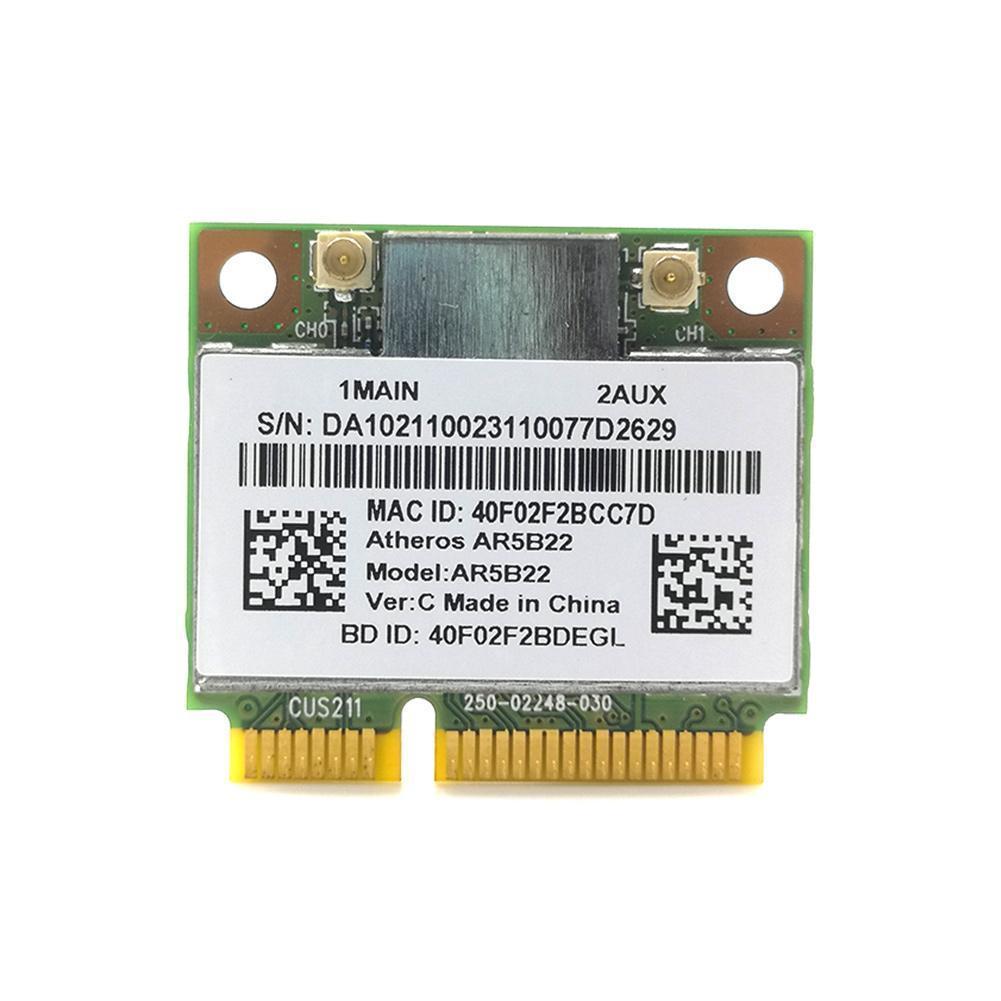 Atheros AzureWave AR9462 AR5B22 WB222 media Mini PCIe inalámbrico 300Mbps + tarjeta...
