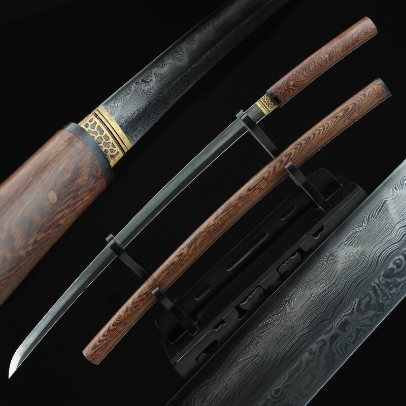Japanese Katana Shirasaya Folded Steel Clay Tempered Blade Razor Sharp Ready For Battle Handmade Real Sword-Rose Wood Sheath
