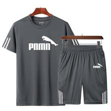 Mens casual sportswear T-shirt + shorts running jogging track and field sportswear suit sports quick-drying running T-shirt men