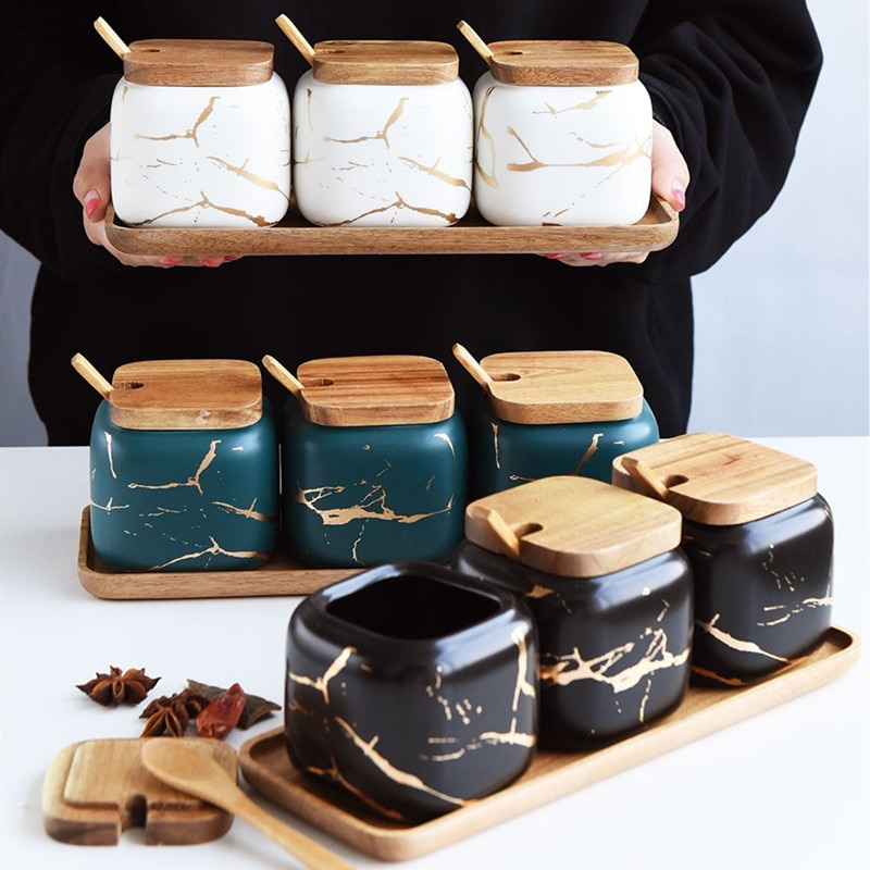 Creativo patrón de mármol nórdico de cerámica, juego de tanque de condimento de cocina, tarro de especias salero con cubierta de madera, accesorios de cocina