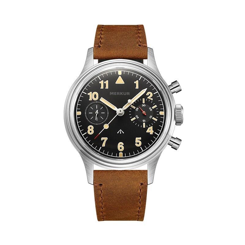 الطيار دليل لف ساعة ميكانيكية الذكور كرونوغراف ريترو العسكرية الفولاذ المقاوم للصدأ ساعة اليد للرجال الذكور