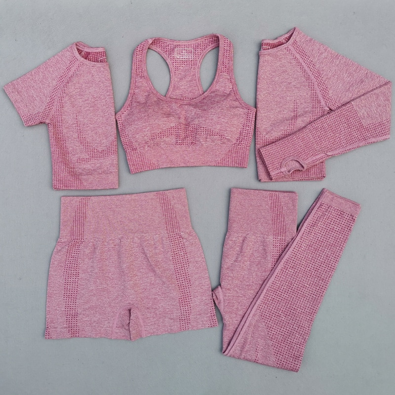 Five-piece Yoga clothes fitness suit women Seamless Yoga Set Sports Underwear Bra Short Sleeve Shorts Long Sleeve Fitness Pants