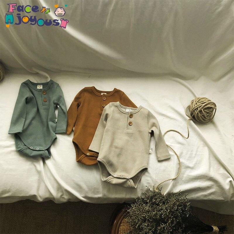 Body de bebé recién nacido Niño de algodón con botones de manga larga mono acanalado traje mallas para niña ropa de bebé infantil 0-24M