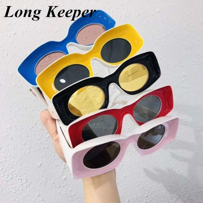 Big Oval Sunglasses Women Men Retro Rectangle Pink Yellow Black Vintage Hip Hop Punk Sun Glasses for