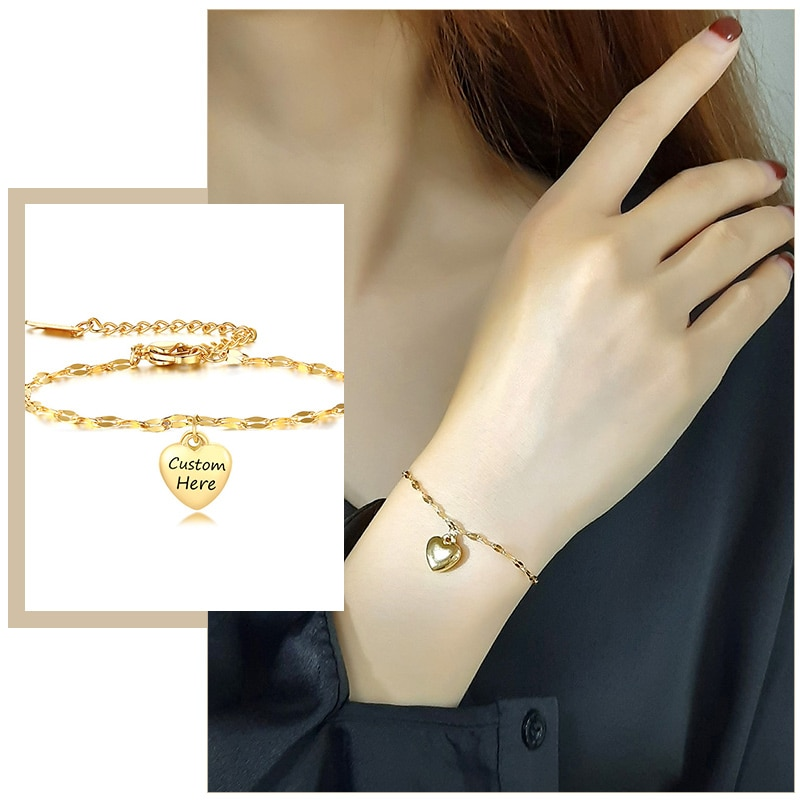 Trendy Custom Heart Charm Bracelets for Women Gold Color Stainless Steel Link Chain with Personalize Engrave Gifts Jewelry недорого