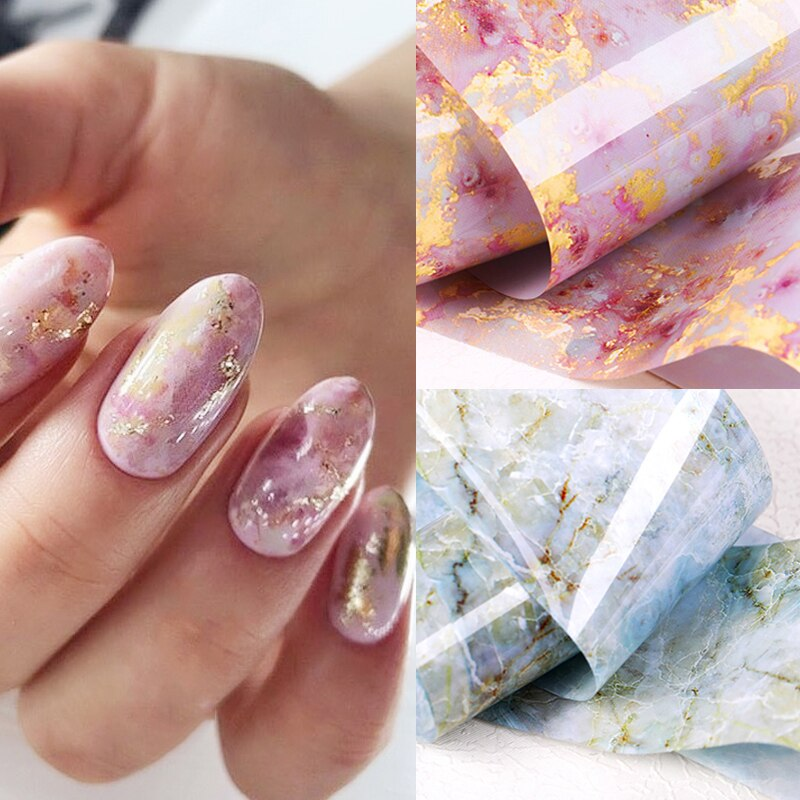Nail Foils Marble Series Pink Blue Foils Paper Nail Art Transfer Sticker Slide Nail Art Decal Nails Accessories 1 Box недорого